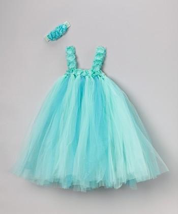 Turquoise Tulle Dress & Flower Headband - Infant, Toddler & Girls