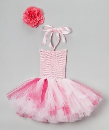 Pink Rosette Halter Tutu Dress - Infant, Toddler & Girls