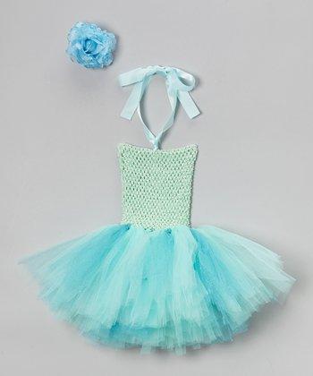 Turquoise Rosette Halter Tutu Dress - Infant, Toddler & Girls