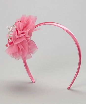 Hot Pink Flower & Heart Headband