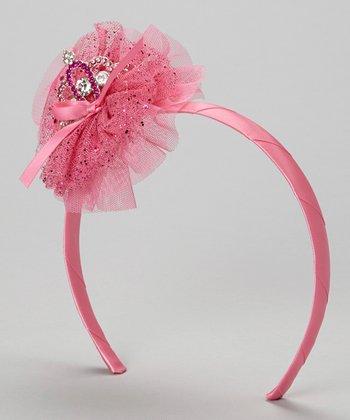Hot Pink Glitter Tulle Tiara Headband