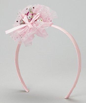 Light Pink Glitter Tulle Tiara Headband