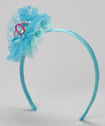 Turquoise Glitter Tulle Tiara Headband