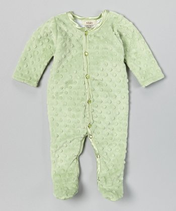 Sage Green Velour Footie - Infant