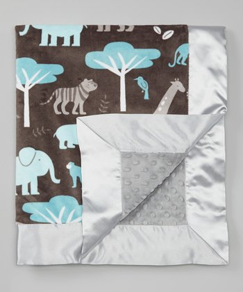 Topaz & Silver Jungle Tales Velour Stroller Blanket