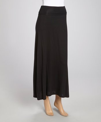 Black Fold-Over Maxi Skirt - Women