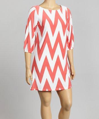Coral & White Zigzag Shift Dress - Plus