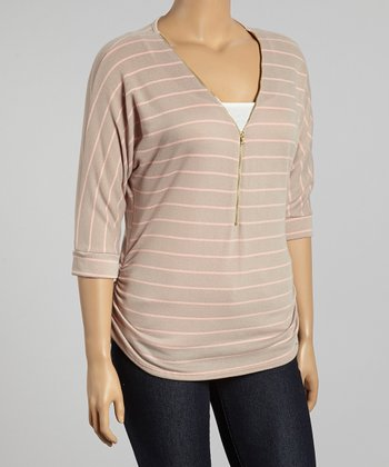 Tan & Pink Stripe Zip-Up Three-Quarter Sleeve Top - Plus