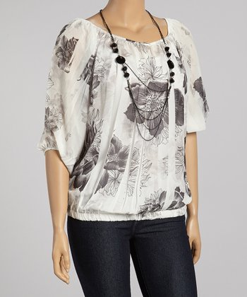 White & Black Peasant Top - Plus