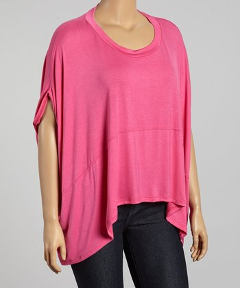 Pink Cape-Sleeve Top - Plus