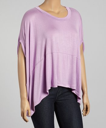 Lilac Cape-Sleeve Top - Plus