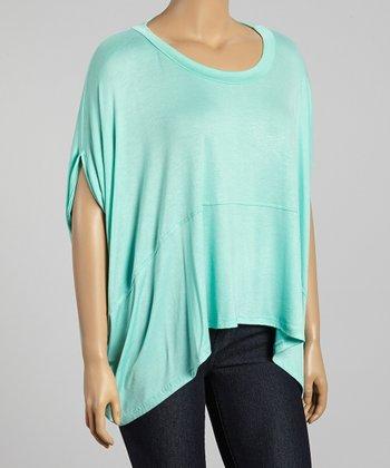 Mint Cape-Sleeve Top - Plus