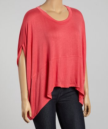 Coral Cape-Sleeve Top - Plus