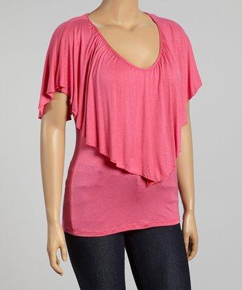 Hot Pink Soft V-Neck Cape-Sleeve Top - Plus