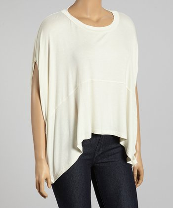 Ivory Cape-Sleeve Top - Plus