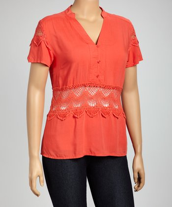 Coral Crochet Top - Plus