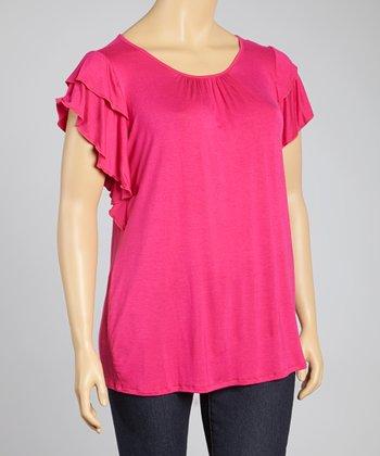 Pink Ruffle Sleeve Top - Plus