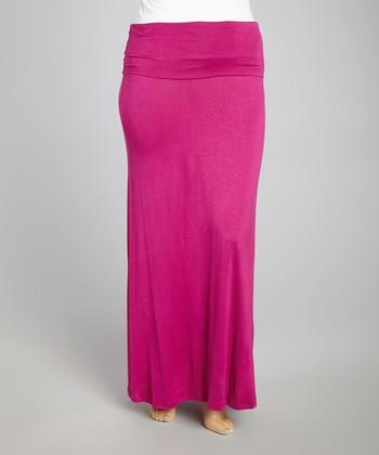 Fuchsia Fold-Over Maxi Skirt - Plus