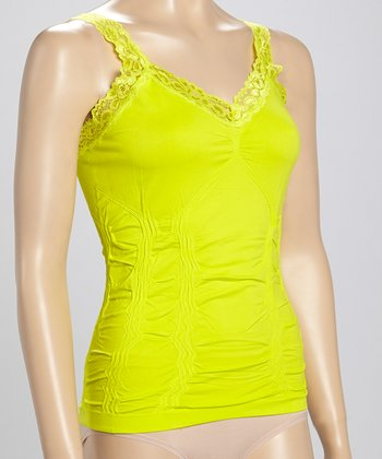 Lime Lace-Trim Ruched Camisole - Women