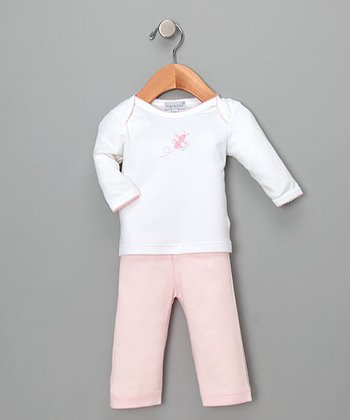 White & Pink Fly Butterfly Top & Pants - Infant