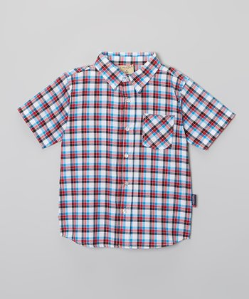 Red Blaze Plaid Button-Up - Boys
