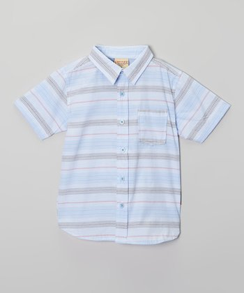 Baby Blue Stripe Button-Up - Boys