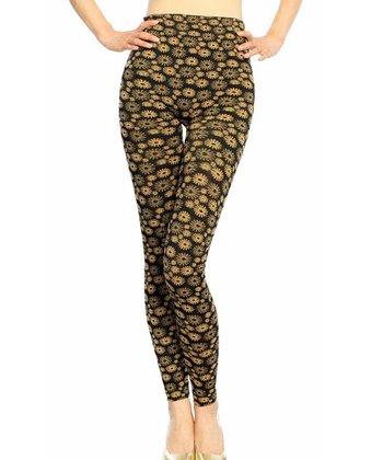 Gold Floral Seamless High-Waist Leggings