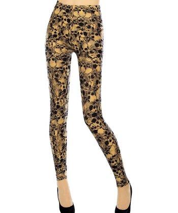 Black & Gold Skull Seamless Leggings