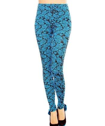 Blue Seamless Floral High-Waist Leggings