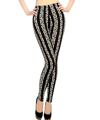 Black & Coral Stripe Seamless High-Waist Leggings