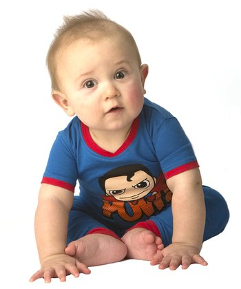 Blue & Red 'Pow!' Superman Pajama Set - Toddler