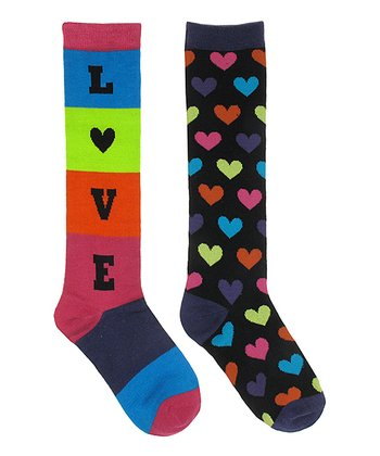 Black & Rainbow 'Love' Socks Set
