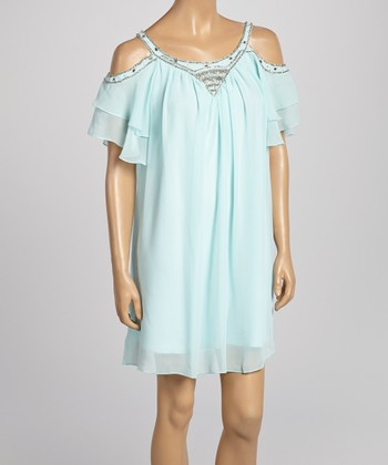 Mint Angel-Sleeve Dress