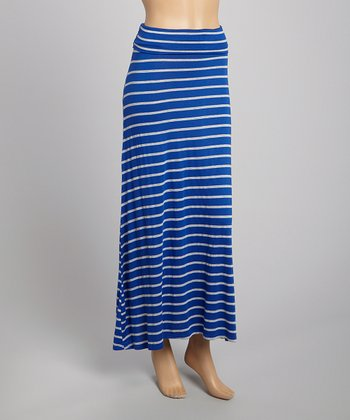 Royal Blue & Gray Stripe Maxi Skirt