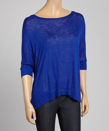 Blue Hi-Low Scoop Neck Tunic