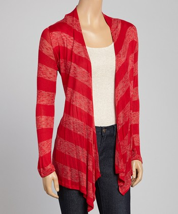Red Sheer Stripe Open Cardigan