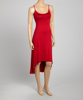 Red Hi-Low Sleeveless Dress