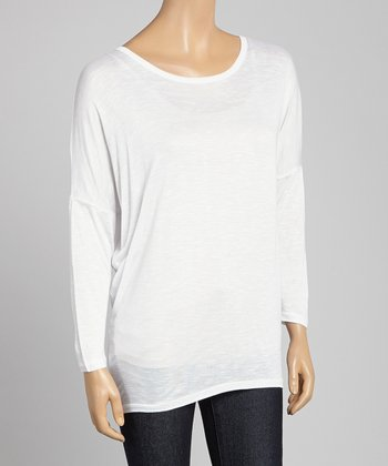 White Sheer Scoop Neck Tee
