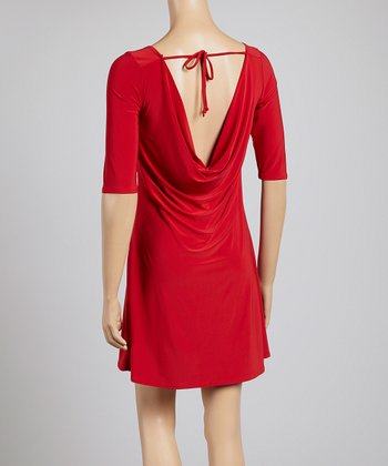 Red Tie-Back Shift Dress