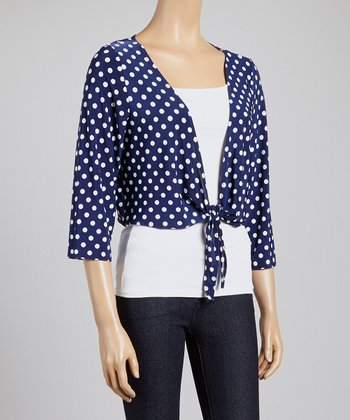 Navy & White Polka Dot Shrug