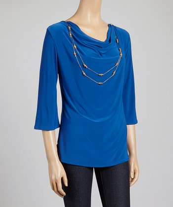 Royal Blue & Gold Drape Neck Necklace Top