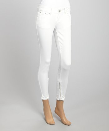 White Cropped Skinny Pants