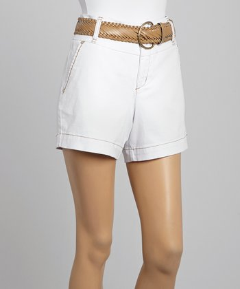 White Belted High-Waist Shorts