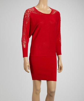 Red Sca Crocheted Dolman Dress
