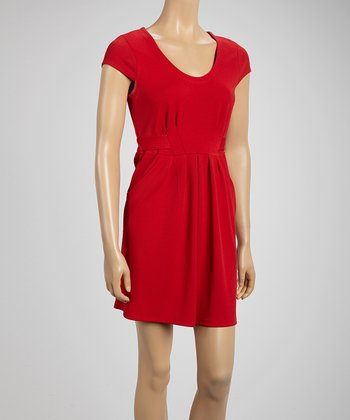 Red Scoop Neck Pocket Dress