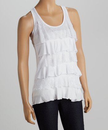 White Lace Tiered Tank