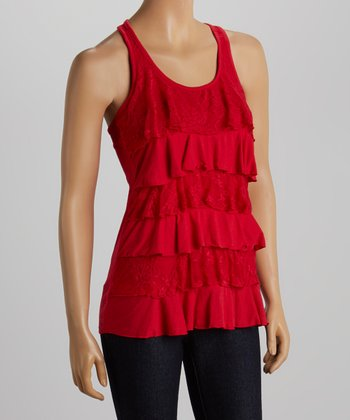 Red Lace Tiered Tank