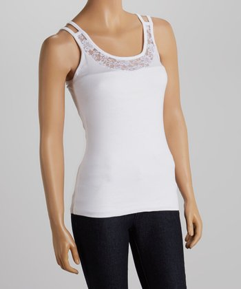 White Lace Double-Strap Tank