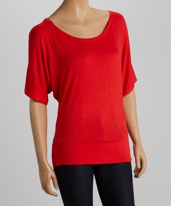 Red Cape-Sleeve Top