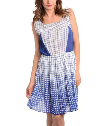 Blue & White Sheer-Panel Dress